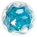 Caverne sous-marine de papier de mer avec des poissons, récif coralien illustration de vecteur