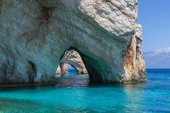 Cavernes bleues dans Zakynthos Images libres de droits