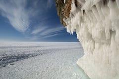 Cavernes de glace d'îles d'apôtre sur le lac Supérieur congelé, le Wisconsin photos libres de droits