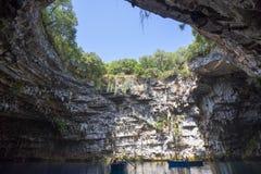 Cavernes de Melissani en île Grèce de Kefalonia images libres de droits