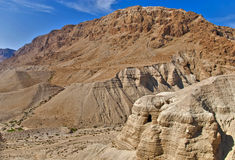 Cavernes de Qumran, Israël Photo stock