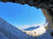 Cavernes préhistoriques de Wildkirchli ou mourir Wildkirchlihöhle Höhlebäre ou Hoehlebaere et Eesidle dans la région d'Appenze photographie stock