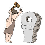 Cavernicolo che inventa ruota Fotografia Stock Libera da Diritti