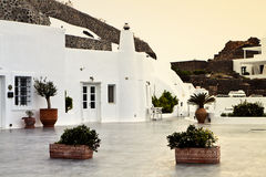 Cavernous hotel at Santorini island Royalty Free Stock Photo