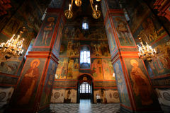 Cavernous Orthodox Cathedral, Kremlin, Moscow, Russia. The solemn but radiant interior of an Russian Orthodox cathedral on the Kremlin grounds in Moscow Stock Image