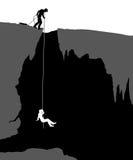 Cavers. Editable vector illustration of cavers exploring a cave vector illustration
