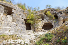 Caves of ancient town chufut kale in Crimea Royalty Free Stock Photos