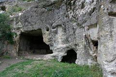 The caves in the cave city Chufut-Kale in Crimea Stock Photography