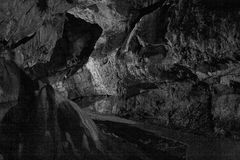 Caves and cave formations in the canyon of the river next to Bor Stock Photo