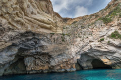 Caves and cliffs at the coast of Gozo Island Royalty Free Stock Image