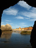 Caves and colourful rock formations on the Algarve Stock Photo