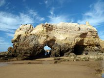 Caves and colourful rock formations on the Algarve Stock Image