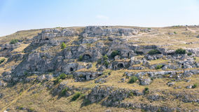 Caves in the Gravina Canyon in Matera Stock Photos