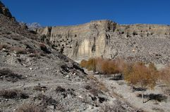 Caves in limestone cliffs near Jomosom, Nepal Royalty Free Stock Photo