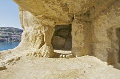 The caves of Matala Stock Image
