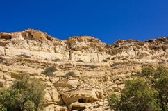 Caves of Matala at the south coast of Crete stock images