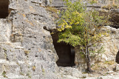 Caves of medieval town chufut kale in Crimea Stock Photo