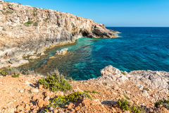 Caves near Ghar Lapsi in Malta Royalty Free Stock Photo