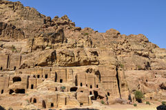 Caves in Petra. Caves on the mountainside in Petra, Jordan Royalty Free Stock Photo