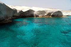 Caves and rock formations by the sea at Sarakiniko area Stock Photo