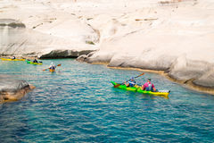 Caves and rock formations by the sea at Sarakiniko area Stock Photos