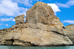 Caves and rock formations by the sea at Sarakiniko area on Milos Royalty Free Stock Images