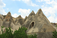 Caves in spectalar rocks, Cappadocia, Turkey Stock Images