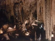 Caves and stalactites. Impressive stalactites inside a cave stock images
