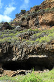 Caves that were inhabited by the natives. The caves were inhabited by primitive man on the Canary island La Palma Stock Photos