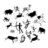 Cavewall ancient painting. Cave painting. Stone paintings vector illustration, cave wall ancient prehistoric primitive rock drawings isolated on white background Stock Photos