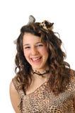 Cavewoman. Girl disguised as a caveman Stock Photos