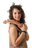 Cavewoman. Girl disguised as a caveman Stock Photo