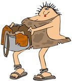Cavewoman carrying laundry Royalty Free Stock Photography