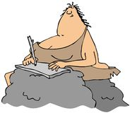 Cavewoman writing Stock Image