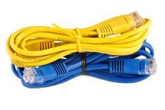 Cavi blu e gialli della rete isolati Immagini Stock