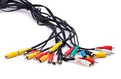 Cavi con i connettori di cavo Fotografie Stock