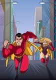 Cavi correnti dell'eroe delle coppie del supereroe illustrazione vettoriale