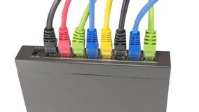 Cavi della rete collegati al router Immagini Stock