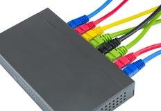 Cavi della rete collegati al router Immagine Stock Libera da Diritti