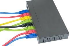 Cavi della rete collegati al router Fotografie Stock