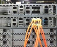 Cavi di Ethernet di telecomunicazione collegati al commutatore di Internet Fotografie Stock Libere da Diritti