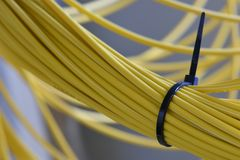 Cavi di toppa nella rete ottica della fibra immagini stock libere da diritti