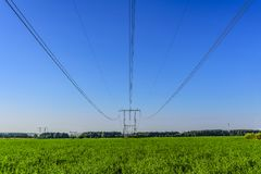 Cavi di una linea elettrica e dei supporti ad alta tensione sopra un campo verde nella mattina di inizio dell'estate immagine stock