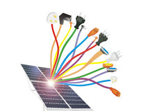 Cavi e pile solari Immagine Stock