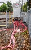 Cavi elettrici ad alta tensione del pericolo Immagine Stock Libera da Diritti
