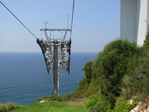 Cavi elettrici della cabina di funivia, Rosh Hanikra Immagine Stock