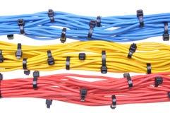 Cavi elettrici di colori con le fascette ferma-cavo Fotografia Stock Libera da Diritti