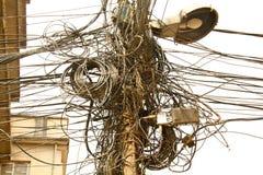 Cavi elettrici di Kathmandu Fotografie Stock Libere da Diritti