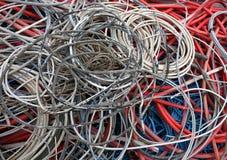 Cavi elettrici di molti colori per il riciclaggio del rame Fotografia Stock Libera da Diritti
