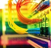 Cavi a fibre ottiche collegati Fotografia Stock